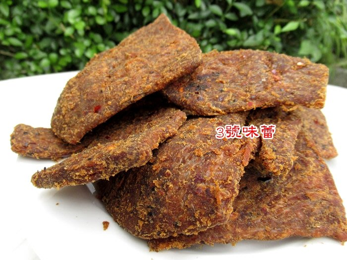 3號味蕾~辣味素牛肉乾《全素》200克95元   另有..素肉條..辣味素蹄筋..素竹輪...沙茶豆乾
