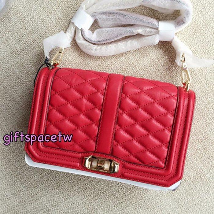 美國設計師Rebecca minkoff love Bag 小香boy 菱格鏈帶包 紅色 金鍊 現貨特價