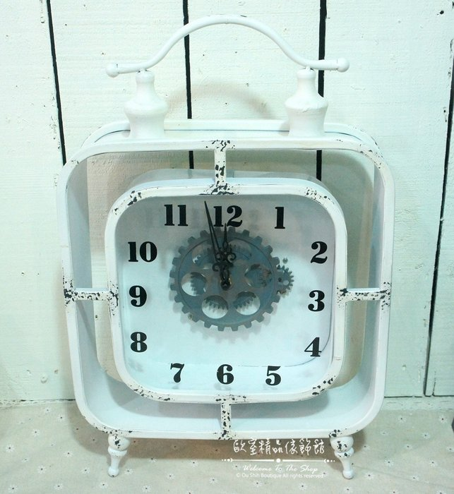 ~*歐室精品傢飾館*~Loft工業 美式鄉村 鐵製 仿舊 復古 齒輪 會轉動 桌鐘 時鐘 白色 擺飾 裝飾~新款上市~