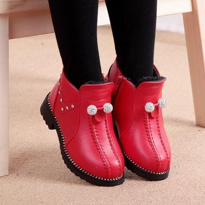 ZIHOPE 秋冬款女童靴子短靴兒童馬丁靴加絨棉靴休閒皮鞋公主靴女童鞋ZI812