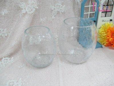 ☆[Hankaro]☆創意流行橢圓形裂紋玻璃花瓶(樣品出清)