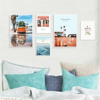 北歐風格現代簡約個性藝術風景大海裝飾畫芯高清微噴打印