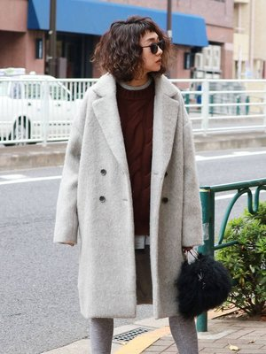【預購】日本連線Ungrid冬2018新入荷シャギーチェスターコート蓬鬆長毛呢雙排扣常大衣外套MOUSSY SLY