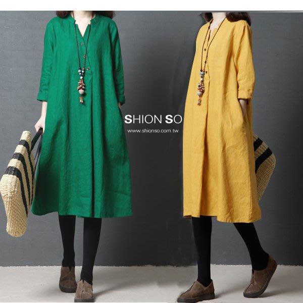 享瘦衣身中大尺碼【B9184】氣質款V領七分袖棉麻連衣裙