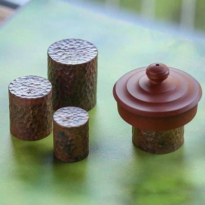 中式茶具 擺件配件 手工槌目紋紫銅實心蓋置 純銅 紫砂壺蓋托 銅壺鐵壺蓋置銅器茶道