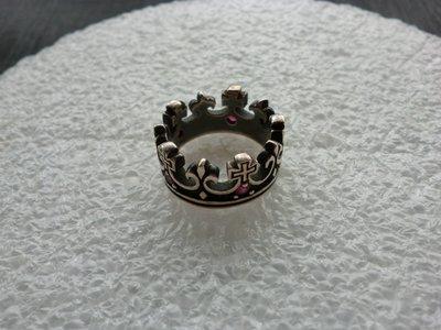 外國925老銀戒:紅寶石皇冠