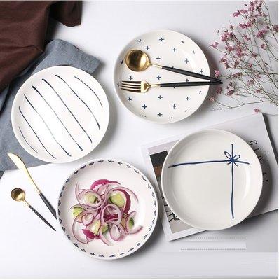 【愛麗絲生活家飾雜貨】日式小清新悠閒下午茶8吋陶瓷點心盤/蛋糕盤/水果盤/零食盤