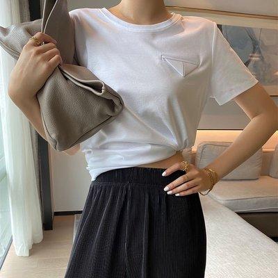 . NL Select Shop .長絨80支雙面絲光棉三角設計短袖T恤女 寬鬆圓領上衣夏6色 白色 黑色