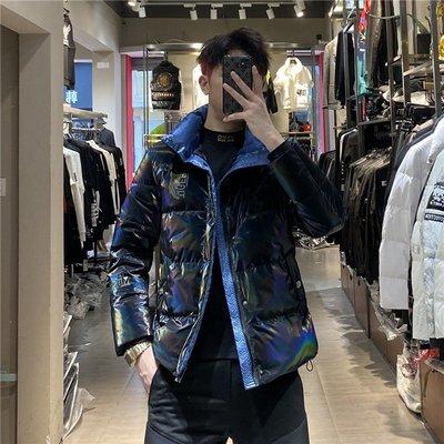 歐韓貨歐洲站男士潮牌反光炫彩亮面羽絨服2021冬季新款潮流時尚立領外套