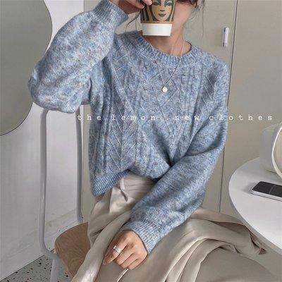 Imzzy韓國女裝舘PPSHD秋韓國自制復古ins超火洋氣圓領混色寬松舒適套頭針織衫毛衣