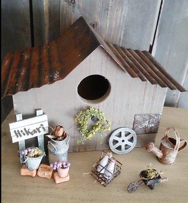 【日花里悠然生活雜貨】 日本azi azi 自然 雜貨風 鳥屋 Shabby bird house / G #4611