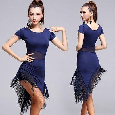 成人修身拉丁裙舞蹈老師教學服裝倫巴練功連衣裙流蘇裙表演服女