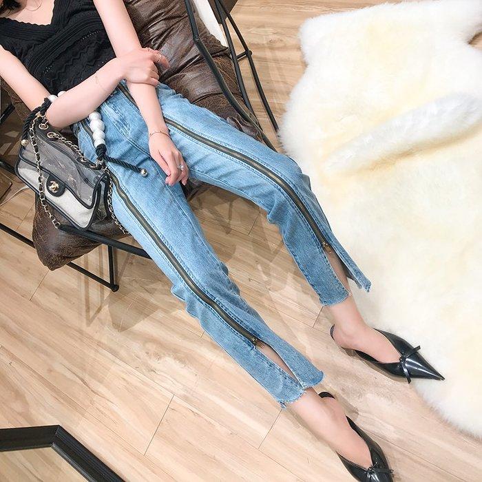 《巴黎拜金女》修身顯瘦拉鍊設計牛仔褲女高腰牛仔直筒九分褲