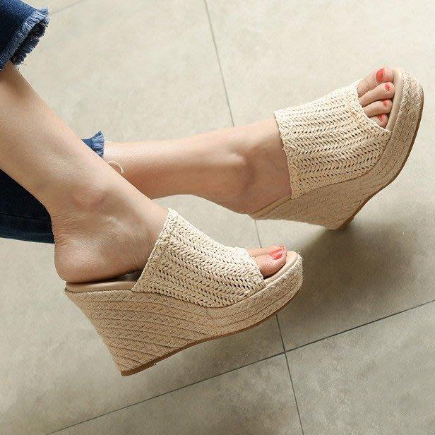 草編拖鞋 外穿時尚網紅坡跟涼拖鞋 厚底半拖*Fashion