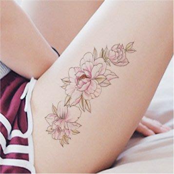 【萌古屋】線條紅花手臂花臂 - 男女防水紋身貼紙微刺青貼紙SY-B104 K29