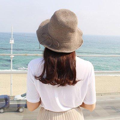 草帽漁夫帽-草編純色可摺疊夏季女帽子7色73vq16[獨家進口][米蘭精品]