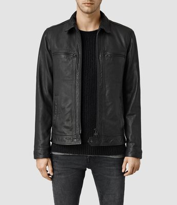 [ Satisfaction ] 英國品牌經典款All Saints基本款直拉鍊黑色翻領羊皮皮衣