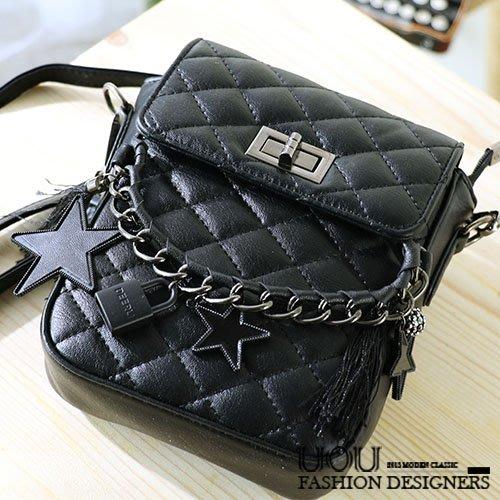 *UOU精品*韓國時尚款 金屬扣菱格紋皮革質感鎖鏈單肩包側背包小方包斜背包 包包‧黑色【kr127】