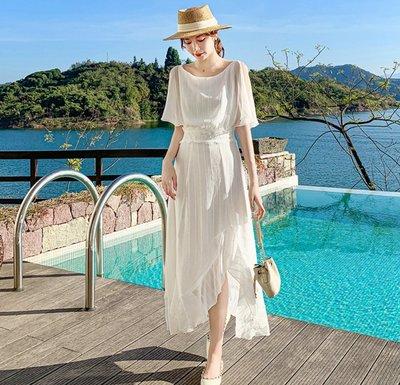 YOHO 短袖洋裝 (HH039260) 實拍法式優雅純白不規則雙層雪紡連身裙  伴娘禮服