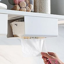 【免運】面紙盒 免打孔粘貼壁掛面紙盒櫥柜下紙巾掛架~『金色年華』