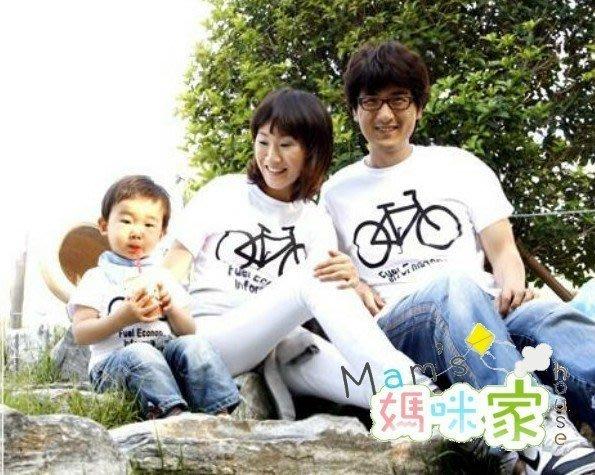 媽咪家【AB027】AB27腳踏車親子裝 FAMIL卡打車 親子裝 T恤~超熱門腳踏車裝 100.110.L