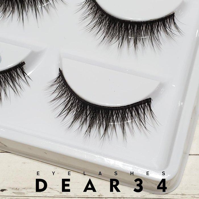 《Dear34》3D立體款水貂毛046黑梗眼中長交叉眼中加密局部加長束狀假睫毛上睫毛一盒五對價