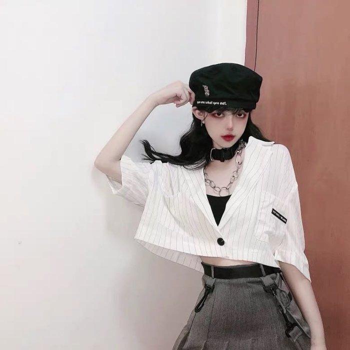 韓版時尚露肚臍短版上衣條紋西裝外套