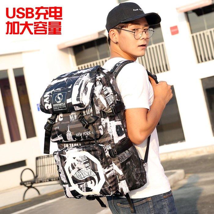 SX千貨鋪-青年潮流男士背包雙肩包男多功能戶外旅行書包女韓版大容量旅游包#男士背包#書包#單肩包#書包