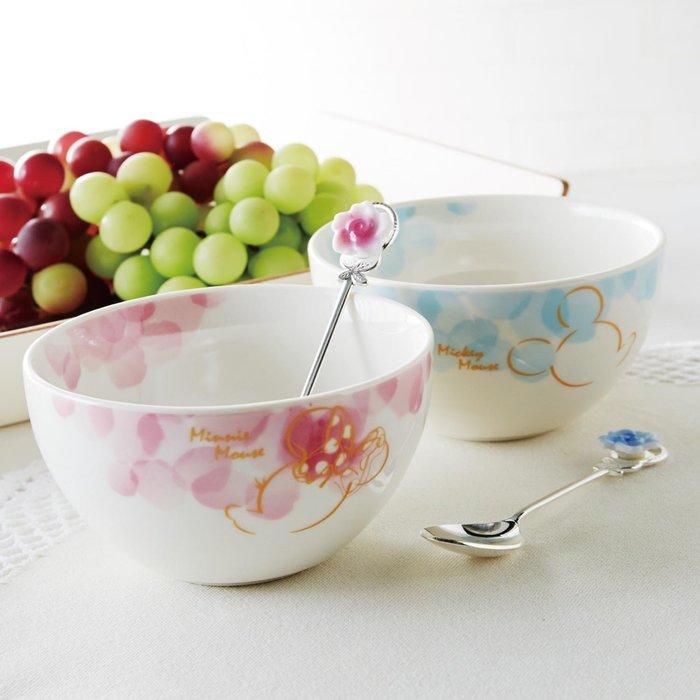 迪士尼Disney《預購》米奇米妮 花卉系列 湯匙+飯碗4件組 餐具組~日本製~可微波~心心小舖