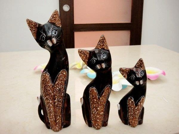 【永晴峇里島】巴里島三隻木貓吊飾/擺飾/公仔,居家、民宿、飯店都好用-擺飾23@