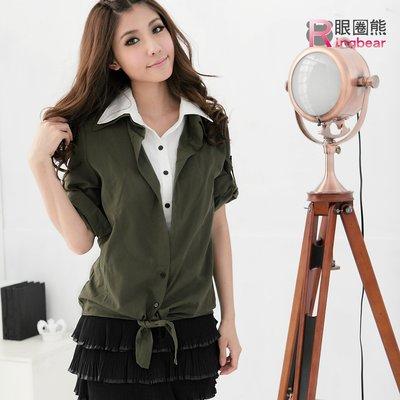 假兩件--休閒的上班裝扮-假兩件綁結襯衫領外罩衫上衣(黑.綠.紫.粉M-3L)-H75眼圈熊中大尺碼