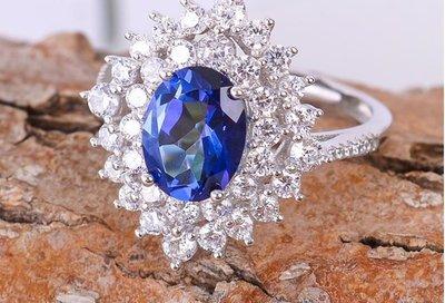 天然坦桑寶石925純銀鍍K金戒指