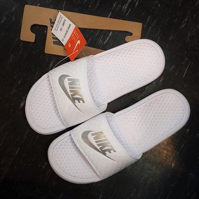 NIKE BENASSI SOLARSOFT SLIDE JDI 拖鞋 白色 全白 白銀 銀勾 343881-102