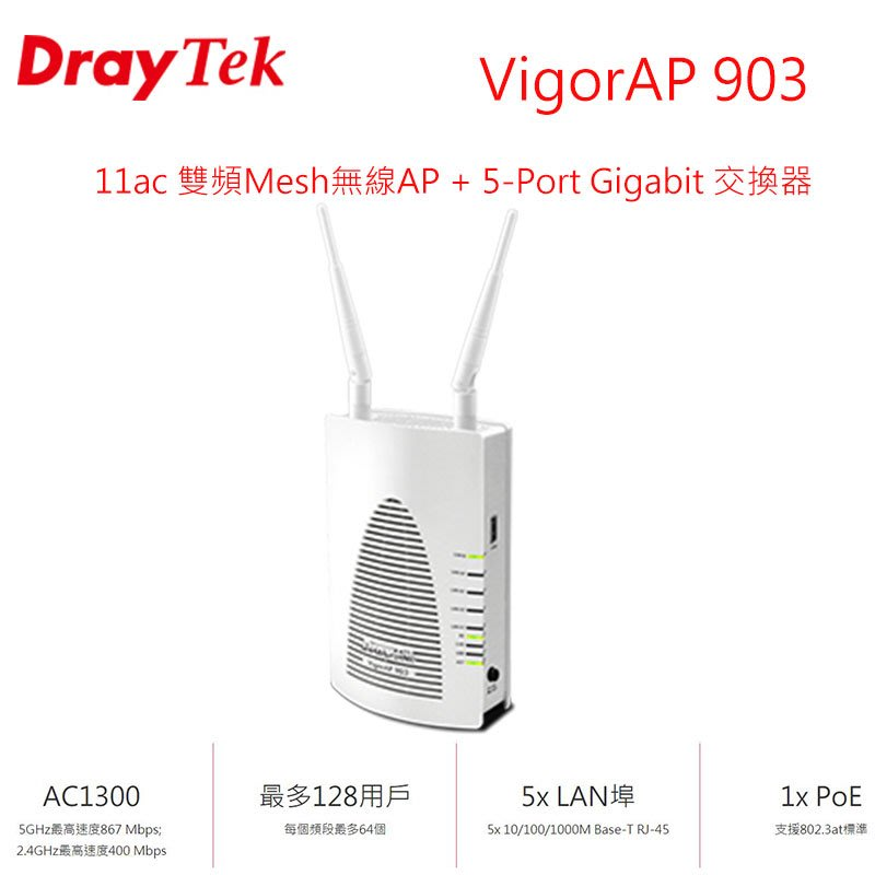 DrayTek居易科技 VigorAP 903 企業級的Mesh無線基地台 5-Port Gigabit 交換器