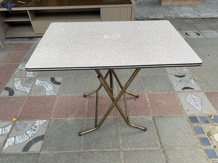 大慶二手家具 白碎石3*2折疊桌/休閒桌/餐廳桌/戶外桌 /簡餐桌/方桌