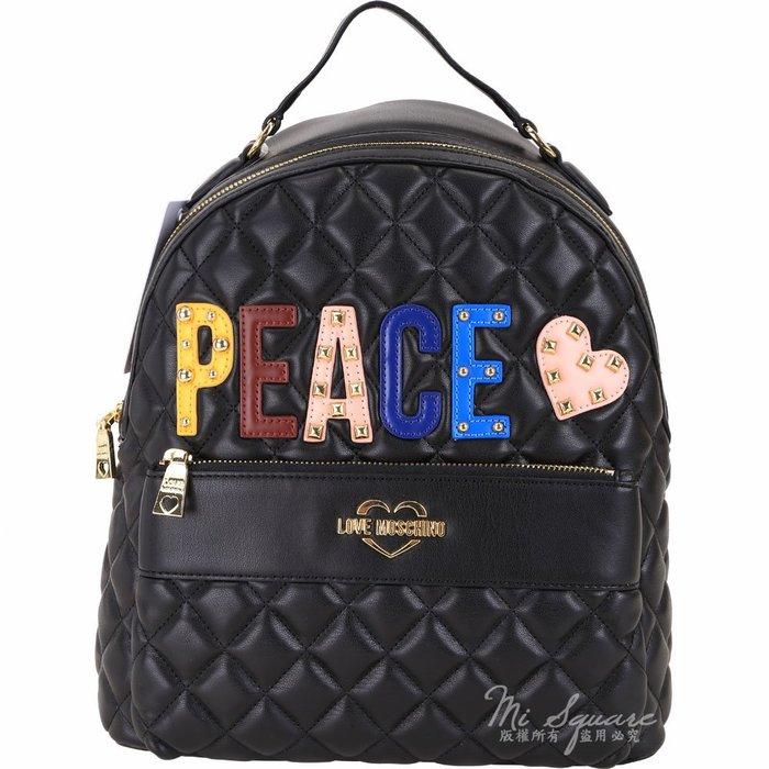 米蘭廣場 LOVE MOSCHINO PEACE字母鉚釘拼貼絎縫菱格後背包(黑色) 1910015-01