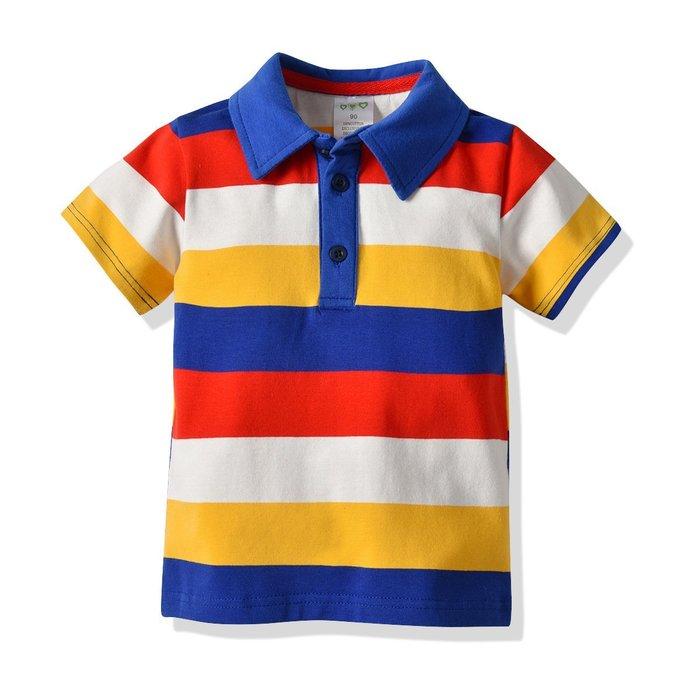 夏季爆款 男童 反領T恤  兒童 寶寶短袖衫 中大小童純棉