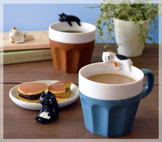 《齊洛瓦鄉村風雜貨》日本雜貨zakka 日本正版 日本DECOLE 貓咪杯緣子馬克杯 貓咪馬克杯 咖啡杯 水杯