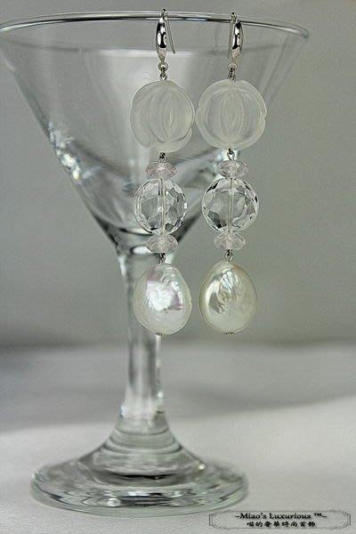輕珠寶訂製系列™~夢幻雪天使~超頂級天然全美白水晶+大Size雪白淡水巴洛克珍珠耳環~