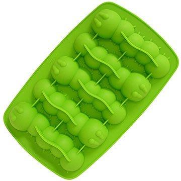 毛毛蟲造型製冰盒,食品級矽膠材質,不含塑化劑。每次可做5條毛毛蟲冰塊,也可當巧克力模