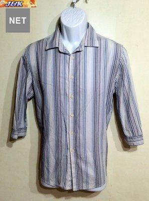 【J&K嚴選】特價NET 男款 修身 條紋襯衫 七分袖-顏色:藍條灰-M號【特賣】LEE EDWIN阿帕契