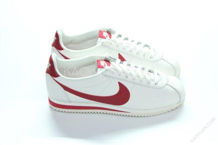 【高冠國際】Nike classic cortez leather 復古 阿甘 皮革 米白 紅 861535 103