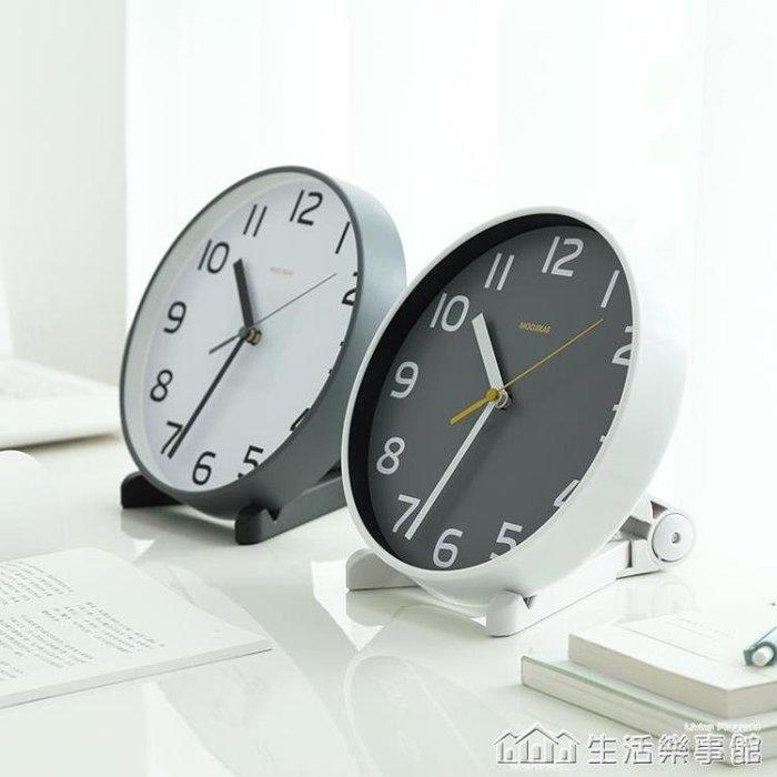 客廳座鐘台式鐘表擺件歐式創意台鐘臥室擺鐘靜音時鐘桌面小掛鐘 NMS-全館免運