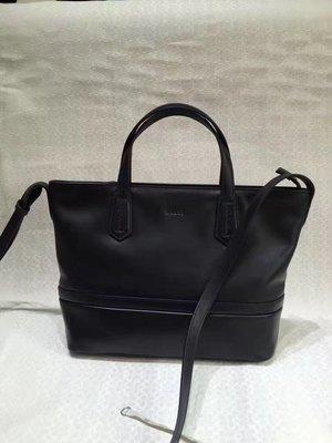 ╭☆包媽子店☆Bally 黑色真皮單肩包/購物袋 小號