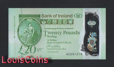 【Louis Coins】B1095-NORTHERN IRELAND-(2017)2020北愛爾蘭塑膠紙幣,20