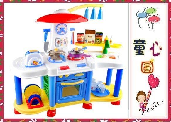 歐式豪華大烤箱廚房~有電燈音效可開微波爐~水龍頭可出水喔◎童心玩具1館◎
