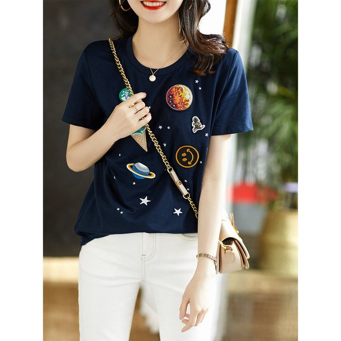 XG 可愛冰淇淋/小恐龍/笑臉/ 全棉刺繡貼布 短袖上衣 T恤