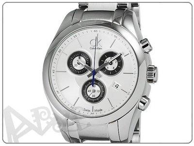 【蘋果小舖】 CK Calvin Klein Strive 凱文克萊時尚三眼計時鋼帶女錶-銀#K0K28120 K0K281.20