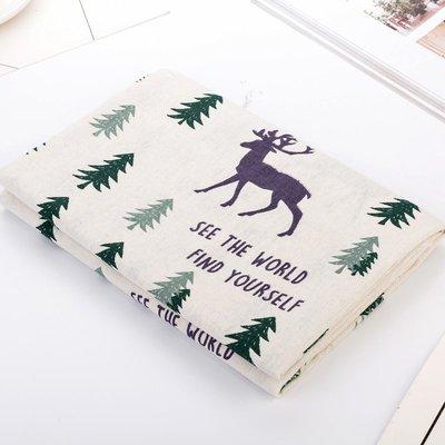 戀物星球 掛布面料棉麻布料日韓風格麋鹿森林手工沙發面料桌布抱枕窗簾布藝