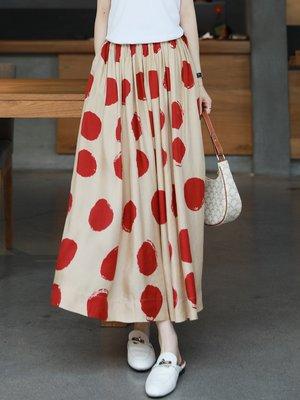 MX 華裔設計師款 大波點銅氨絲 鬆緊腰長裙 A字裙